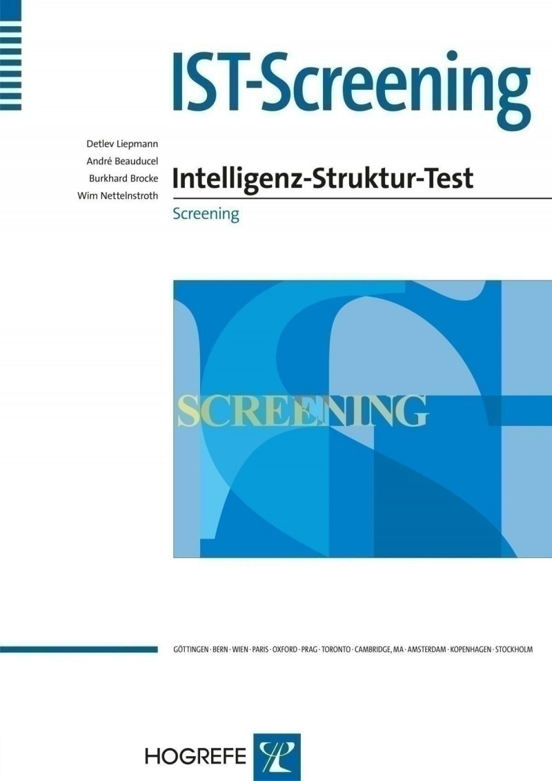 Test komplett bestehend aus: Manual, 2 Testhefte A, 2 Testhefte B, 15 Antwortbogen A, 15 Antwortbogen B, Schablone A, Schablone B, 15 Ergebnisprofile und Mappe