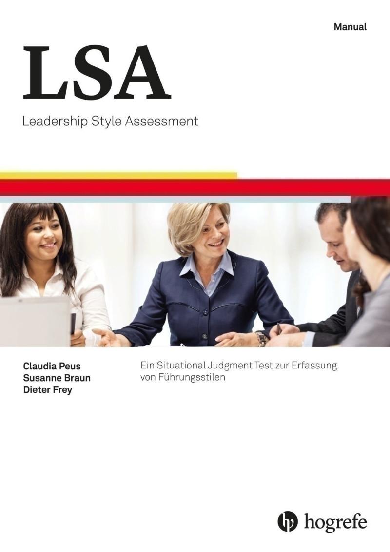 Test komplett bestehend aus Manual, 5 Broschüren Hinweise für Teilnehmer, 15 Fragebogen für Führungskräfte (LSA-F), 15 Fragebogen für Mitarbeitende (LSA-M), 15 Auswertungsbogen zum Fragebogen für Führungskräfte, 15 Auswertungsbogen zum Fragebogen für Mita